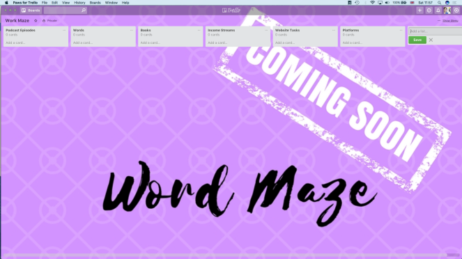 My WordMaze Trello board